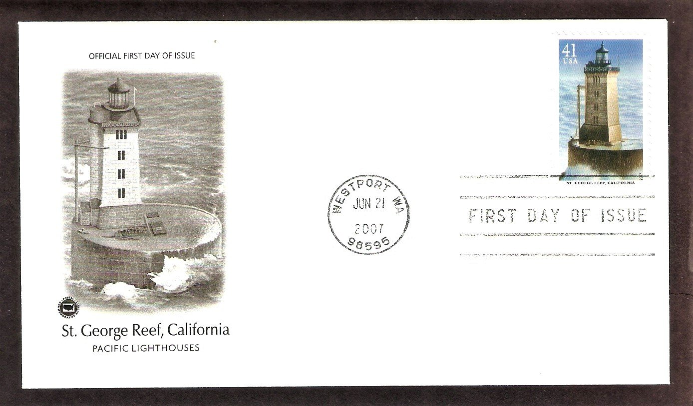 Pacific Lighthouses, St. George Reef Lighthouse, California, PCG, First Issue USA