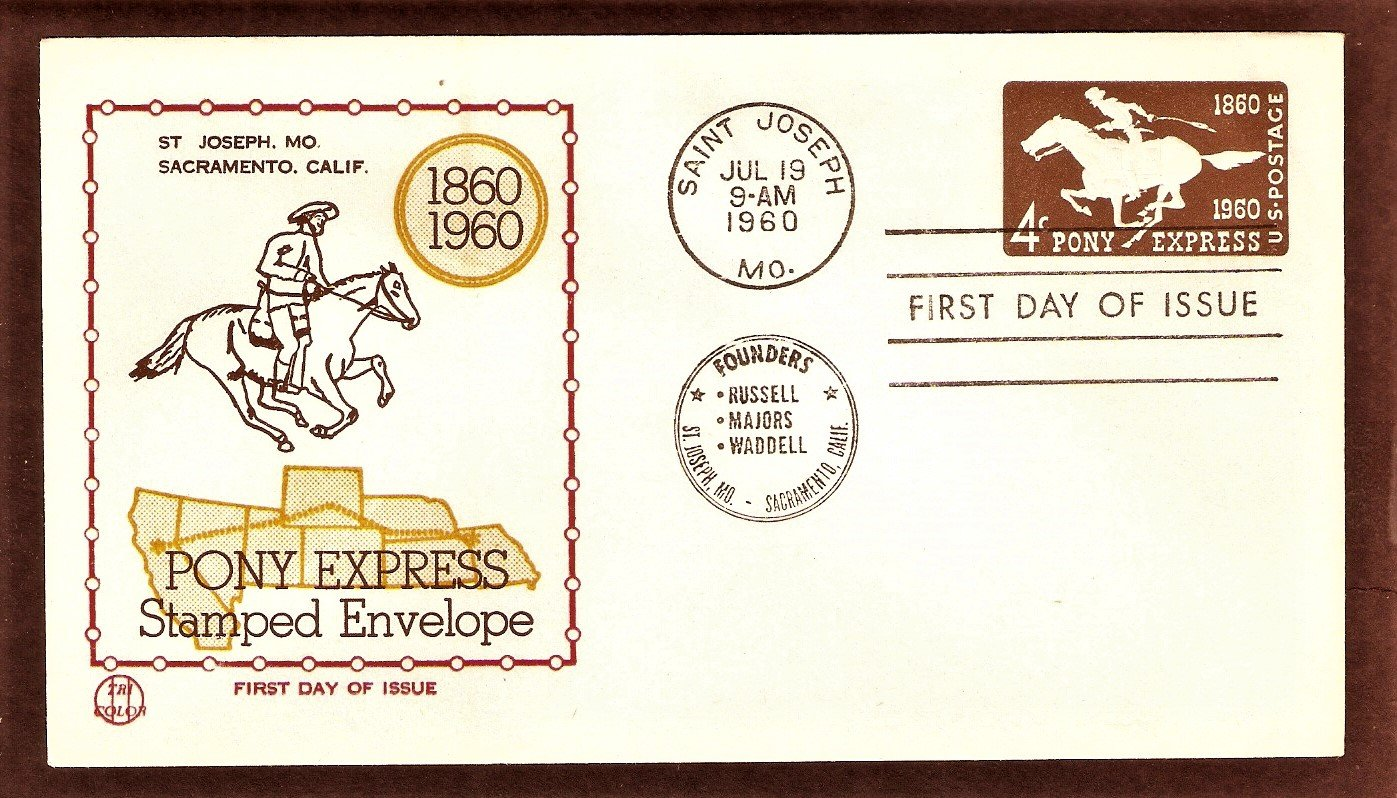 Pony Express Centennial, Mail Carrier, Embossed Postage Stamp Envelope, 1960 First Issue USA