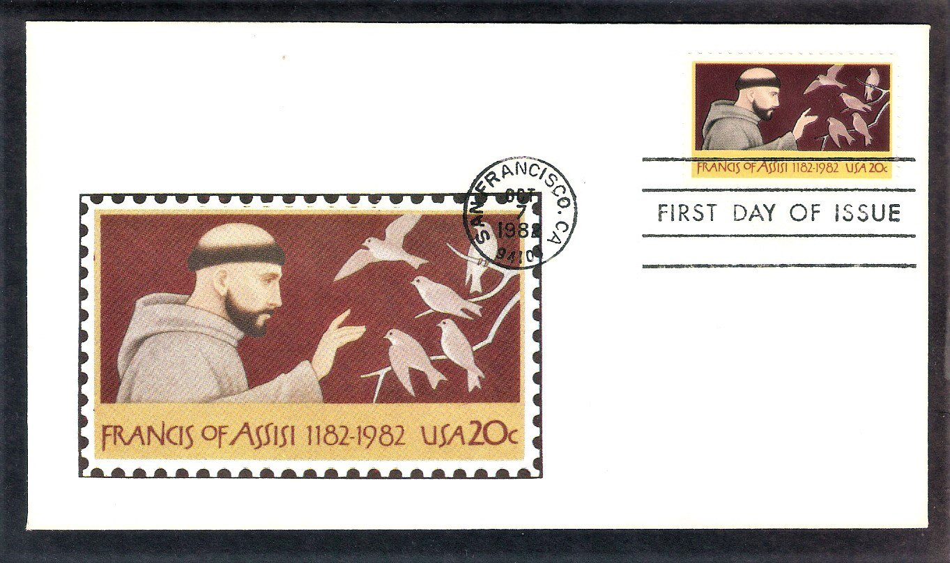 Honoring St. Francis of Assisi, Patron Saint of Animals, Andrews, First Issue USA!