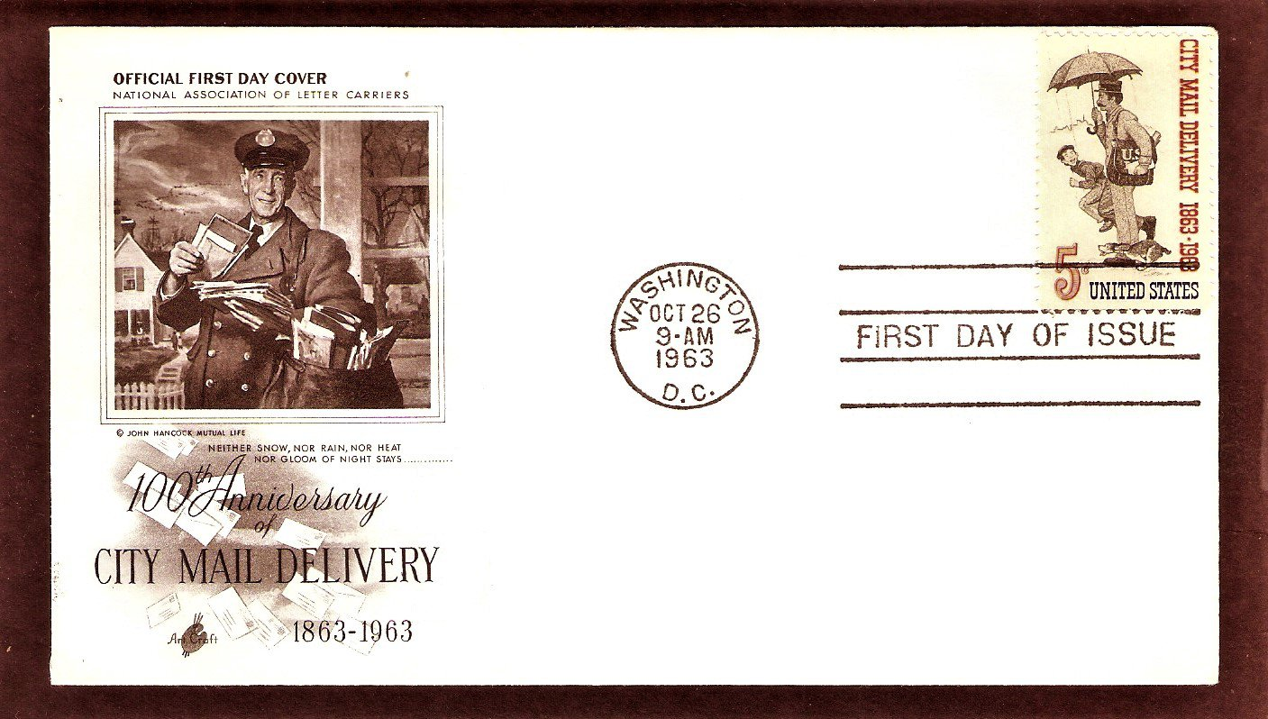100th Anniversary City Mail Delivery, Letter Carrier, Norman Rockwell, AC, First Issue USA