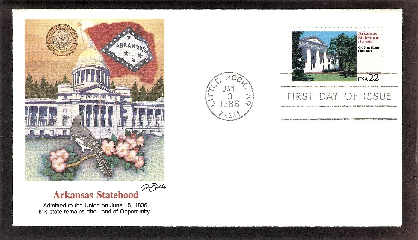 Arkansas Statehood, 150th Anniversary, FW, First Issue, FDC USA
