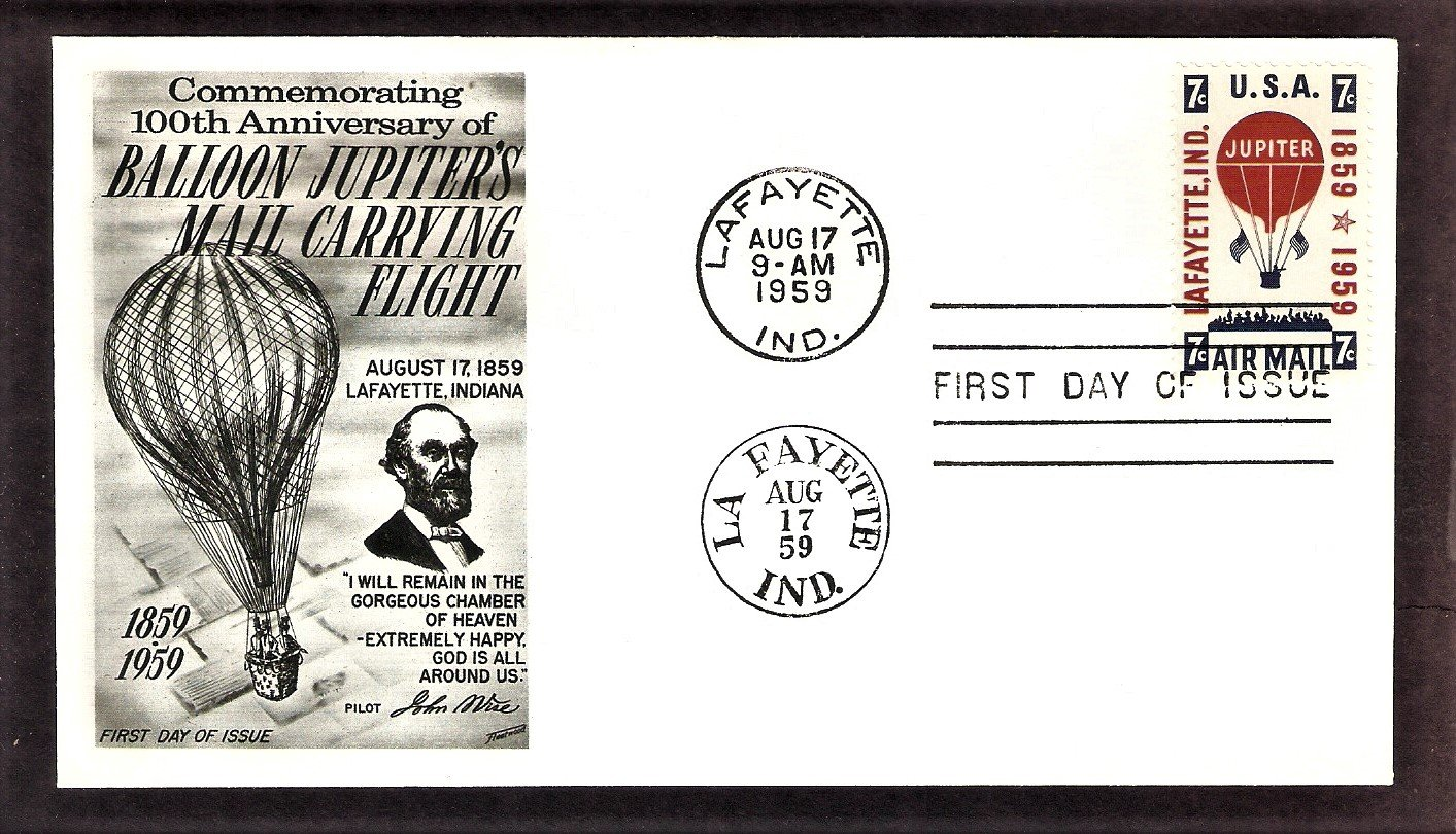 First Official Air Mail Letter, Hot Air Balloon Jupiter, FW, First Issue USA