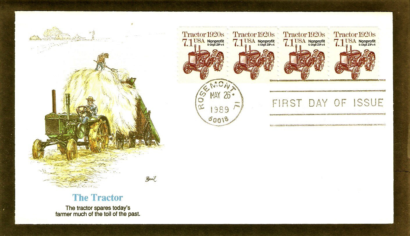 John Deere Tractor 1920s, Non Profit Stamp, FW, First Issue USA