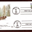 Christmas 1988, Madonna and Child, One-Horse Open Sleigh and Village Scene,  Gill Craft, FDC