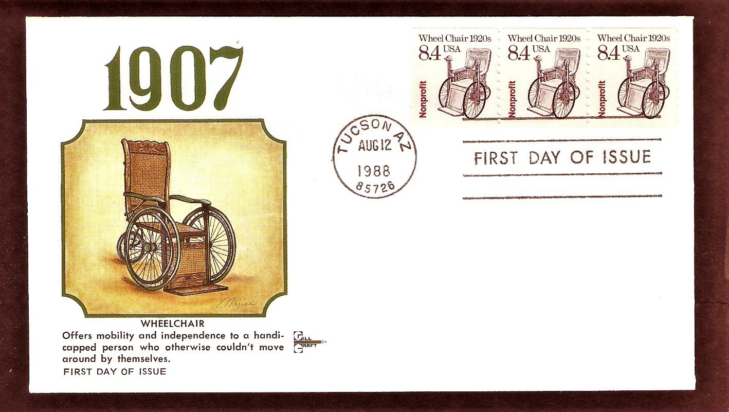 Wheel Chair 1920s, Gill Craft, First Day of Issue, USA