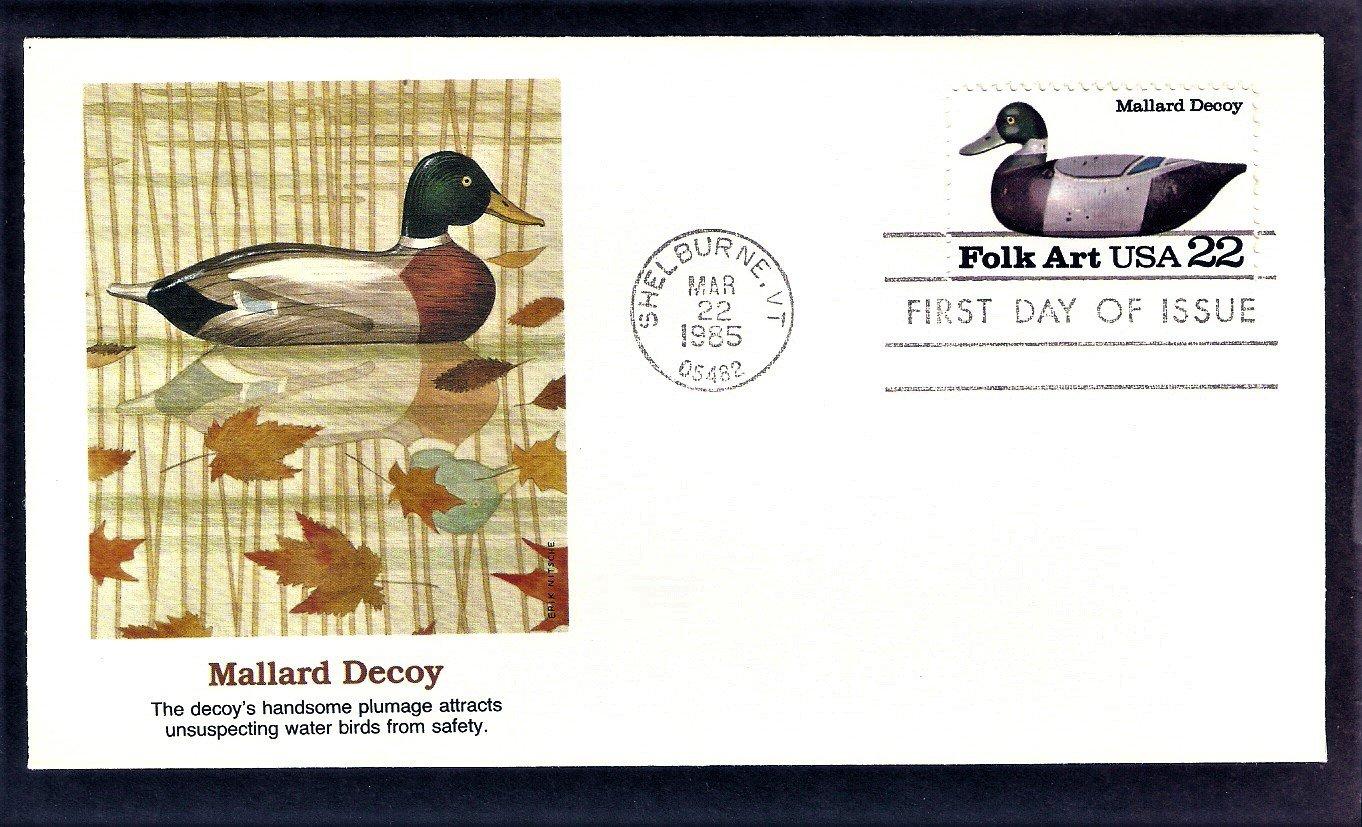 Duck Decoys Folk Art Carvings, Mallard Decoy, FW First Issue USA FDC