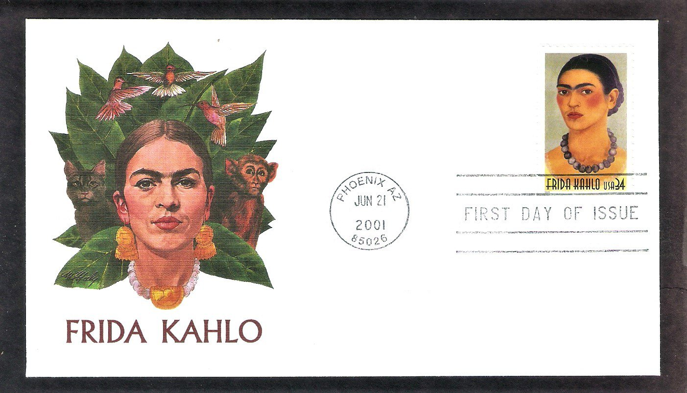Honoring Mexican Painter Frida Kahlo, FW, FDC, First Day of Issue USA