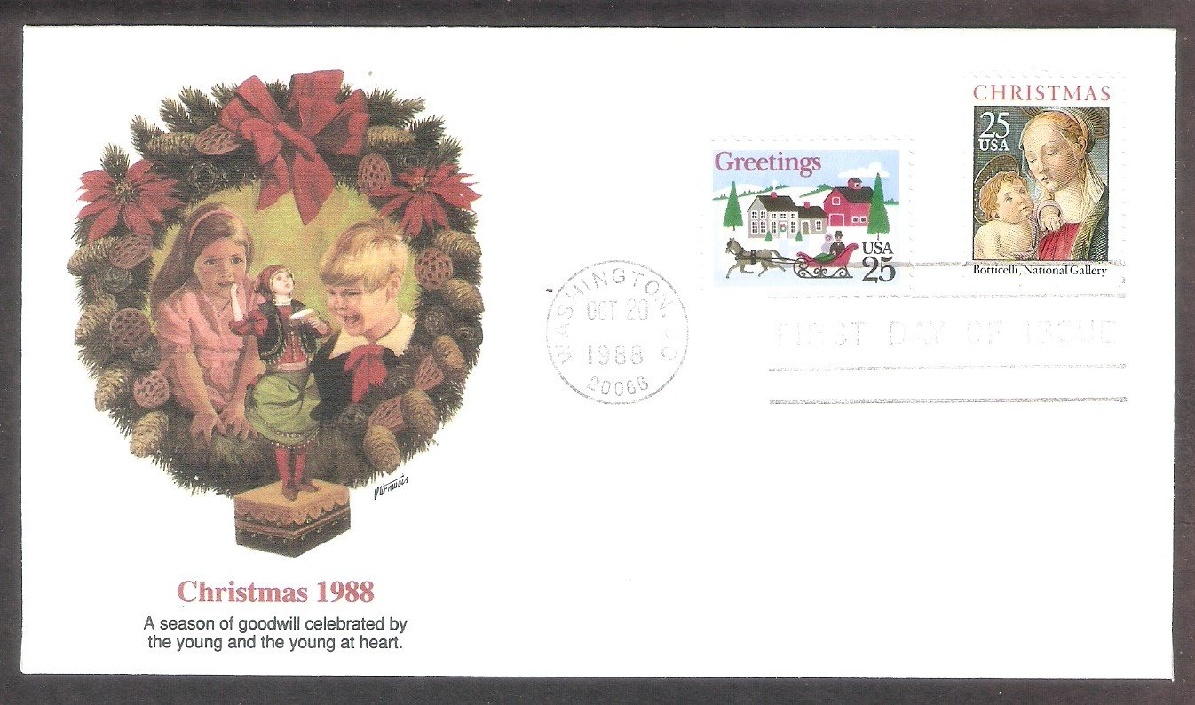 Christmas 1988, Madonna and Child, One-Horse Open Sleigh and Village Scene, FW, FDC