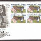 South Dakota Statehood Centennial, Pasque Flower, Woman and Sod House, AC, First Issue USA