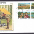 International Youth Year, Boy Scouts, Big Brothers/Sisters, Camping, CS, First Issue 1985 USA