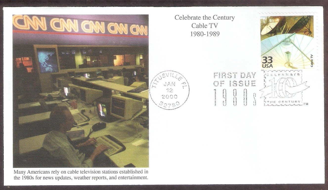 Celebrating the Century, 1980s, Cable TV, Mystic, First Day of Issue USA!