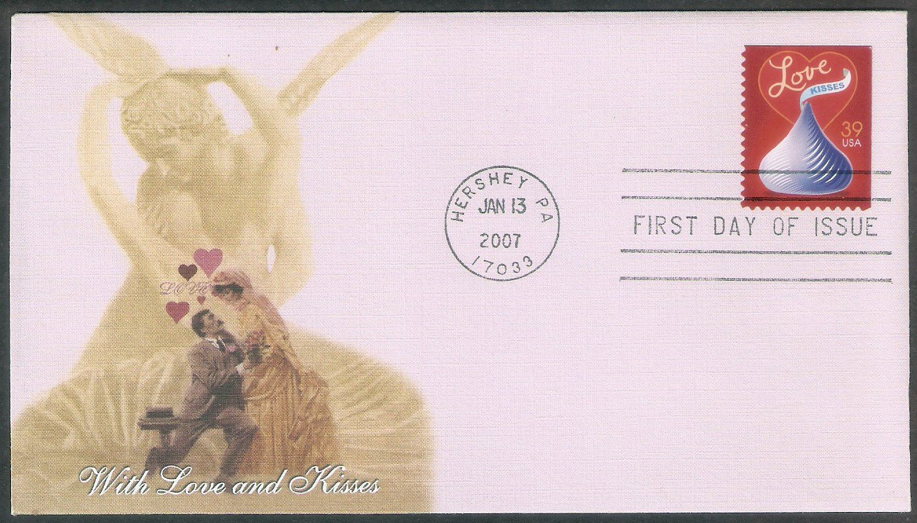 Love Stamp 2007, With Love and Kisses, Hershey, FW, First Issue USA