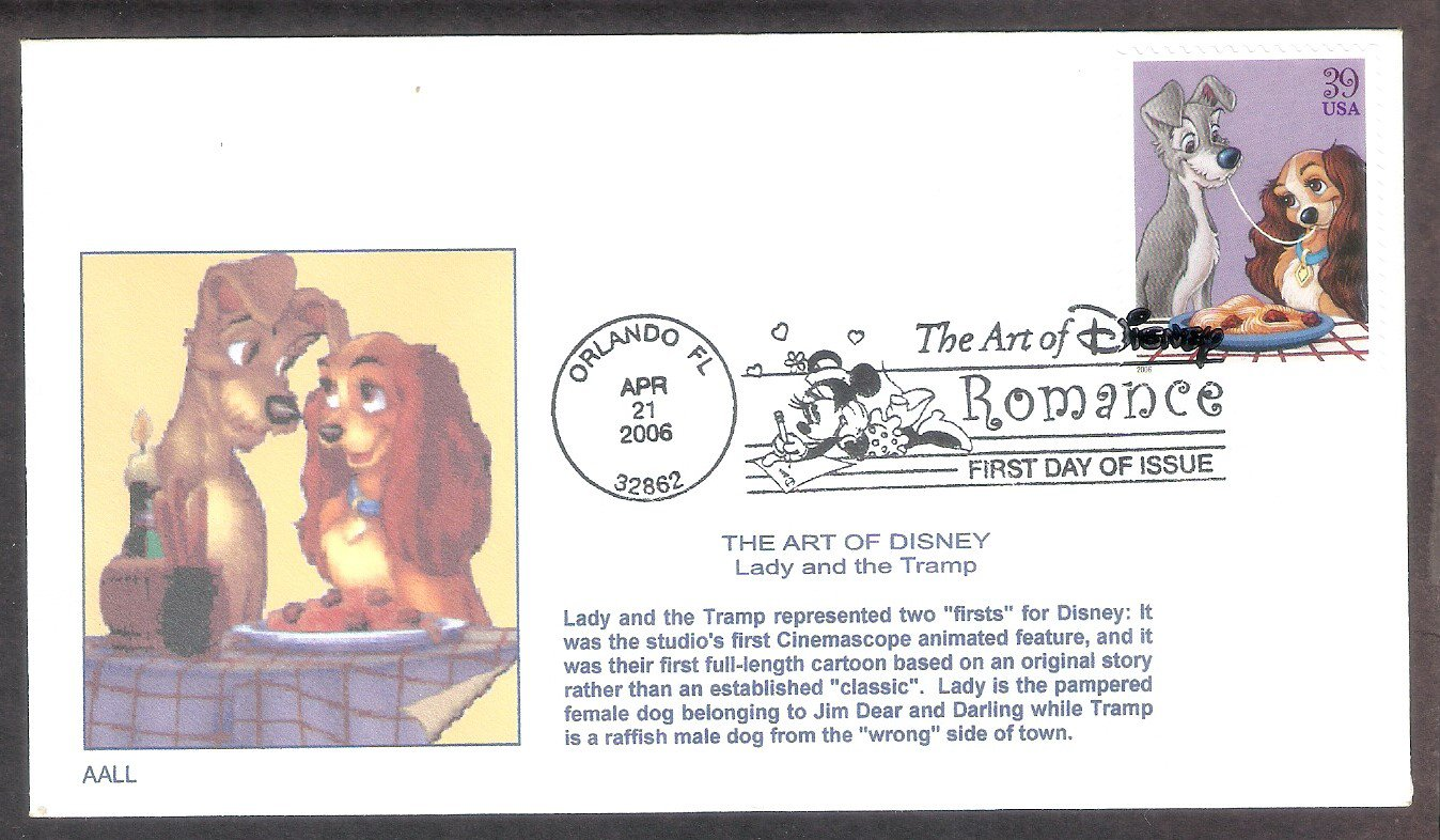 Walt Disney Art, Lady and the Tramp, Spaghetti and Meatballs First Issue FDC USA