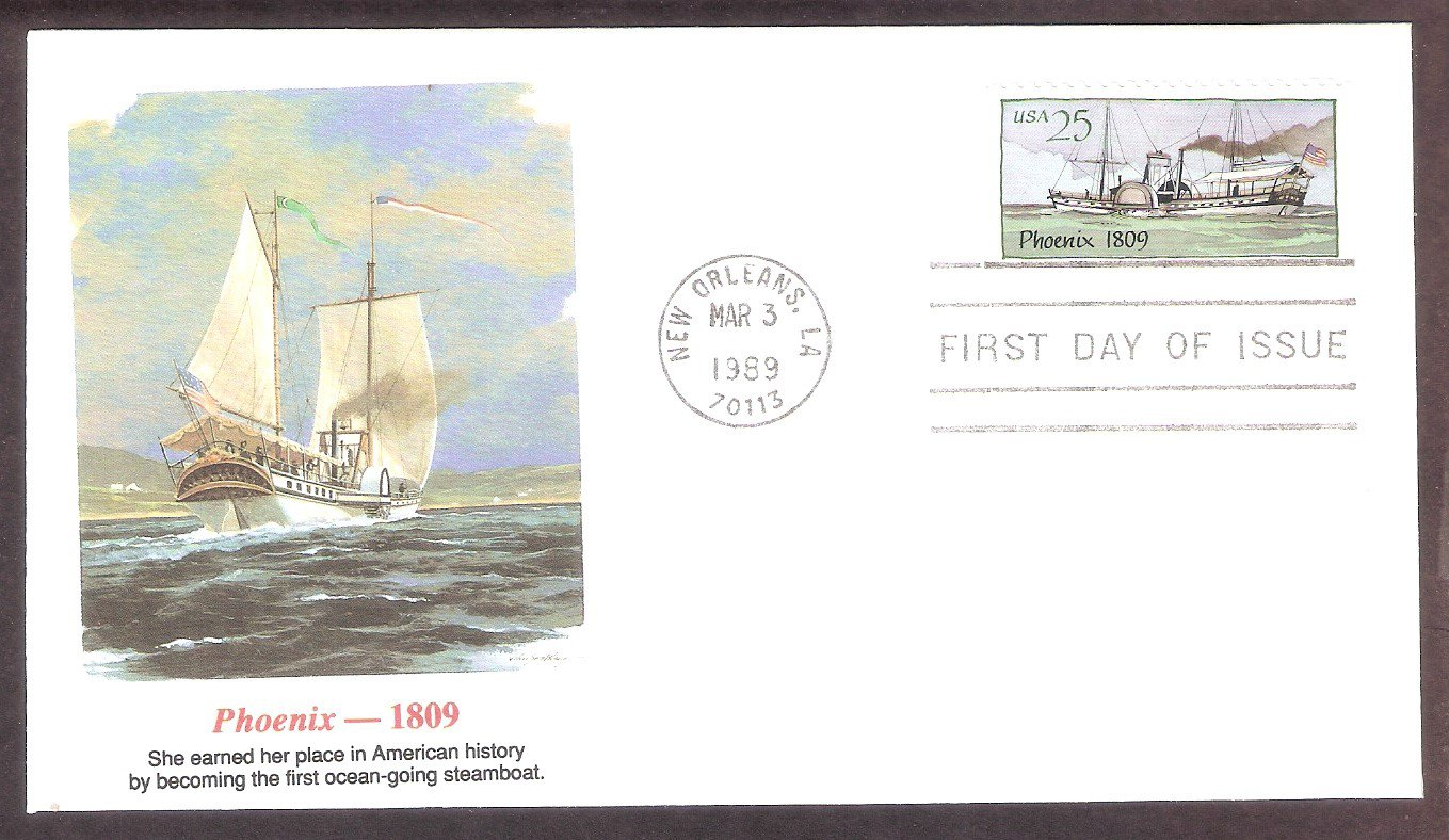 American Steamboat, Phoenix, 1809, FW First Issue USA