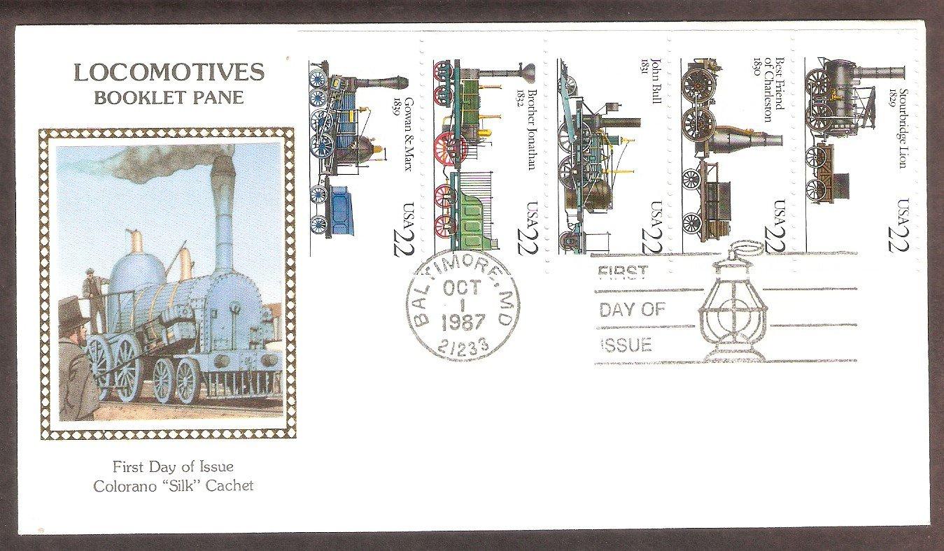 Railroad  5 Antique Steam Locomotives, CS, First Issue USA