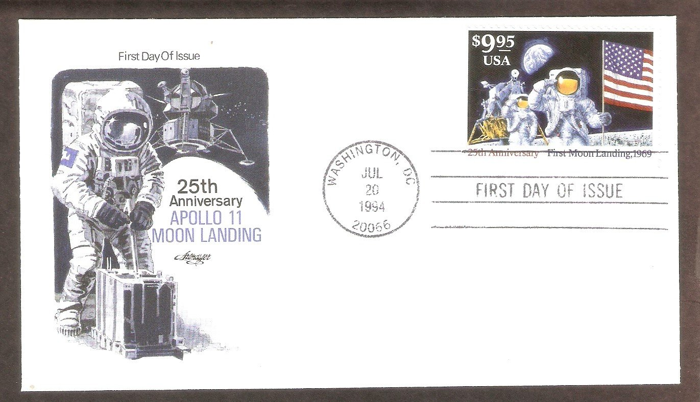 25th Anniversary First Moon Landing, Express Mail, AM, 1994 First Issue USA