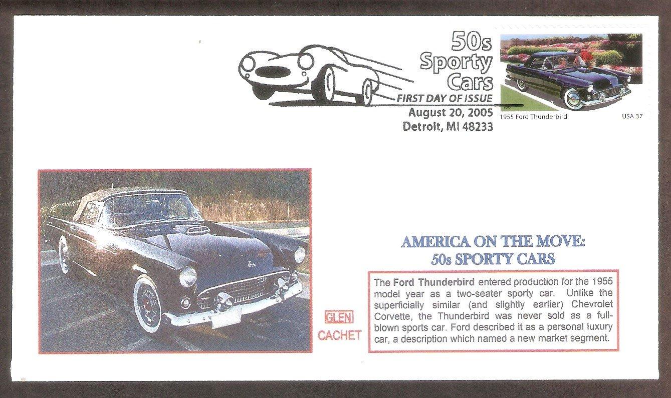 1955 Ford Thunderbird, First Issue, Detroit, Glen, Michigan FDC USA