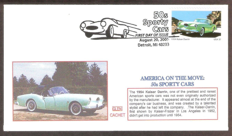 50s Sporty Cars, 1954 Kaiser Darrin, Glen, First Issue, Detroit, Michigan USA FDC