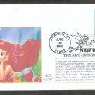 Walt Disney Art, Little Mermaid, Ariel, Flounder, Mystic, Glen, First Issue FDC USA