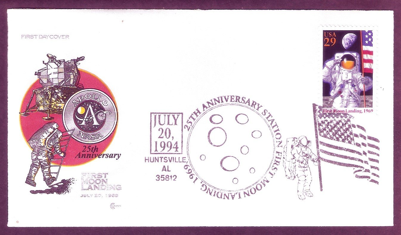 Moon Landing NASA Apollo 11 Space Astronaut First Issue, CC, AL, USA FDC