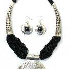 Black Breastplate Necklace Set
