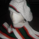 Red, black and green on White Tam w/ scarf