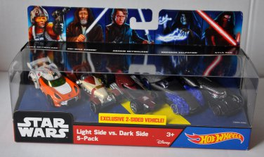 New Star Wars Hot Wheels Light vs Dark Side 5 Pack 2015 Exclusive 2-Sided Vehicle