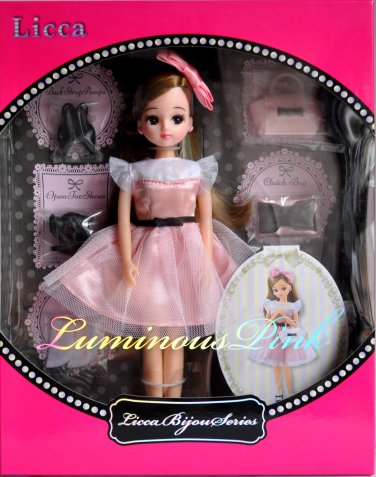 New Hot Takara Tomy Licca Bijou Series Luminous Pink Licca-Chan 9 Inches Doll