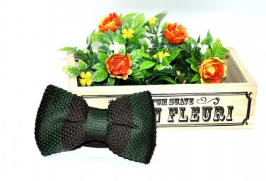 New High Quality Fashion Knitted Bow Tie For Men Brown With Green Stripes