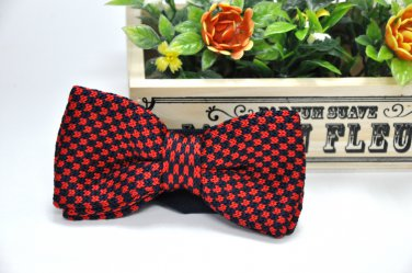 New High Quality Fashion Knitted Bow Tie For Men Red With Navy Blue Checker