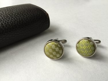 New Men Vintage Cuff Links Green Cloth Chrome Design