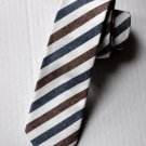 New High Quality Fashion Cotton Narrow Tie For Men White With Brown Blue Stripe