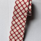 New High Quality Fashion Narrow Cotton Tie For Men White Red Plaid