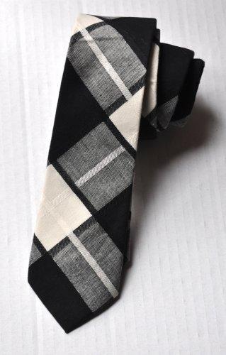 New High Quality Fashion Narrow Cotton Tie For Men White Gray Checker