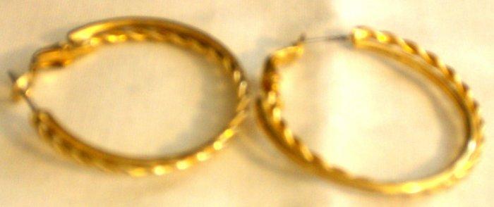"""1.5"""" Gold Plated Twist Earrings"""