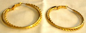 "2"" Gold Plated Twisted Hoop Earrings"
