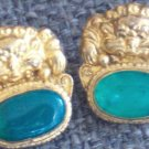 GoldPlated /Synthetic Jade Lion Earrings