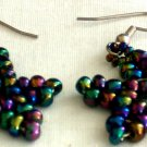Handed Beaded Multi-Color Star Earrings