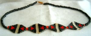 Red, Black & Translucent Hand Beaded Necklace
