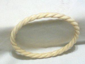 Vintage Ivory Bangle Bracelet ~ Twisted Rope