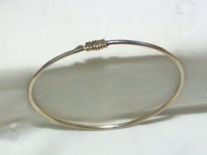 Unique Sterling Silver Bangle Bracelet With Gold Accent
