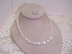 Vintage AB Crystals Single Strand Necklace  A642* tnk-ent
