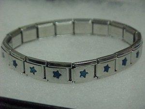 Silvertone & Blue Stars Expandable Metal Bracelet A459 tnk-ent