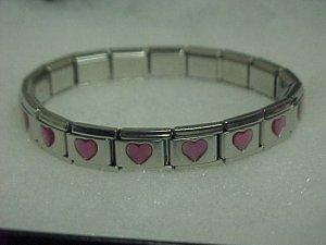 Silvertone Pink Hearts Expandable Metal Bracelet A461 tnk-ent