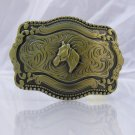 Huge Western ANTIQUE BRASS HORSE COWBOY BELT BUCKLE new