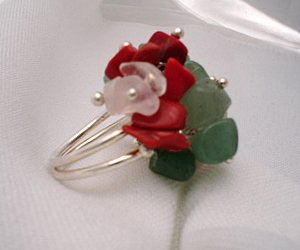 Spring ! 925 solid sterling silver multicolor beaded gemstone ring size 7