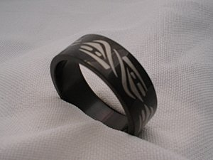 Black stainless steel Mexican design jewelry ring band size 6