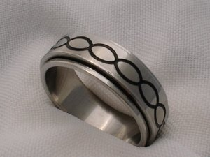 Mens unisex stainless steel engagement or casual jewelry ring black band 12