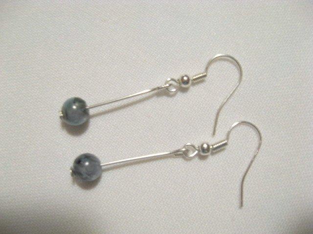 Chakra Blue Green Kyanite round bead silver stick earrings handmade