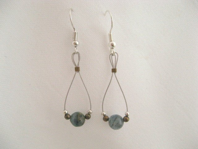 Kyanite round bead silver tear drop earrings handmade jewelry